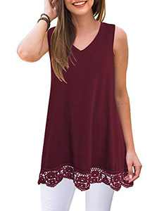 IHOT Women's Summer Sleeveless Vneck Solid Color Tshirts Lace Casual Swing Tank Tops Blouse Wind-Red