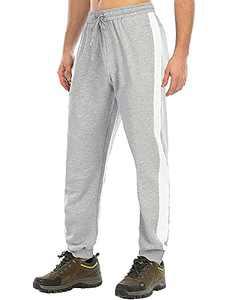 Bohuma Men's Sweatpants Joggers Lightweight Breathable Running Yoga Pants with Zipper Pockets,KZ6808M-GreyWhite-S