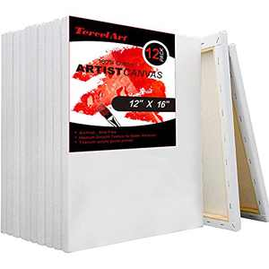 TercelArt Stretched Canvas, Pack of 12, 12x16 Inch Canvases for Painting, Triple Primed, 100% Cotton, Art Supplies for Acrylic Pouring and Oil Painting