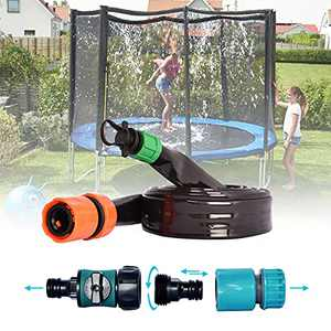 MIZIKUSON Trampoline Sprinkler for Kids, Outdoor Trampoline Water Park Sprinkler, 39.3Ft Upgrade Thicker Trampoline Accessories, Fun Summer Outdoor Backyard Water Play Toys for Boys Girls