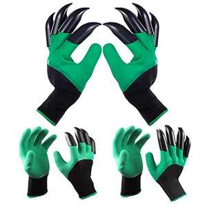Universal Garden Gloves with Claws 3 Pairs-Waterproof Clawed Rubber Coated Work Gloves for Digging Seeding Planting and Weeding