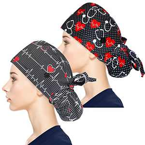 Fesciory Adjustable Working Caps with Button & Sweatband, Women Ponytail Pouch Hats, Long Hair (Stethoscope+Black ECG)
