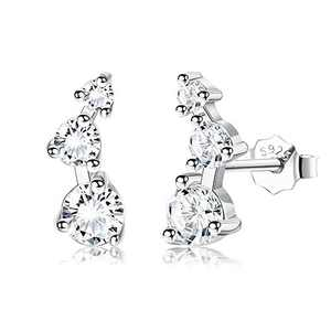 Sllaiss Sterling Silver Post Mini Constellation Cubic Zirconia Ear Crawler Earrings (White)