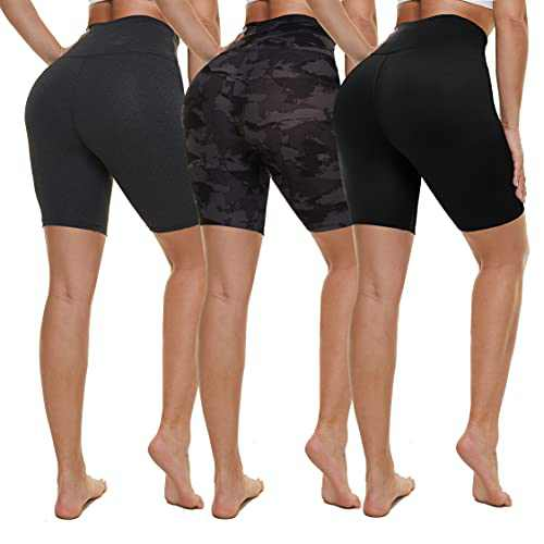 NexiEpoch 3 Pack Biker Shorts for Women - High Waisted Soft Stretch Yoga Shorts for Workout, Running (Black/Heather Grey/Black Printed, Small-Medium)