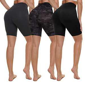 "NexiEpoch 3 Pack Biker Shorts for Women High Waist - 8"" Tummy Control Non See - Through for Workout Yoga Running"