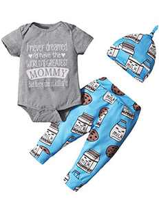 Dramiposs Baby Boy Coming Home Outfit Infant Cute Bodysuit with Hat (Gray-Mommy,6-12 Months)