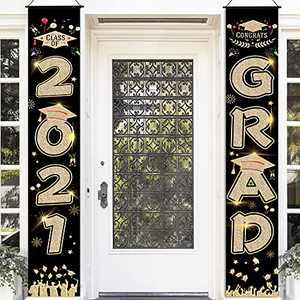 JoneTing Graduation Banners 2021 Gold and Black Graduation Porch Sign for College Graduation Decorations 2021 Congrats Grad Party Decorations for College Congratulations Decorations Party Supplies for 2021 Graduation