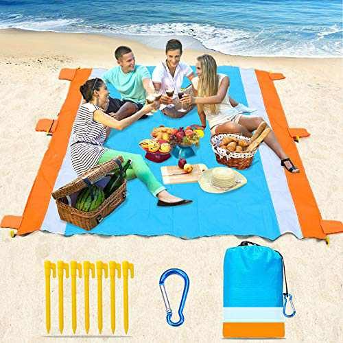 "Beach Blanket-79 X 83"" Sandproof Waterproof Lightweight Portable Beach Mat with 7 Plastic Floor, 210D Nylon Picnic Pocket Blanket for Park Beach Hiking Camping (Orange-Blue)"