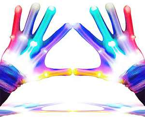 GLEDLOVES LED Gloves,Finger Lights,LED Gloves for Kids Birthday Gifts,Toys for 3-12 Year Olds Boys Girls,LED Finger Gloves,Lights Up Gloves Have 5 Color/6 Mode, in Father's Day Party Outdoor Games(M)