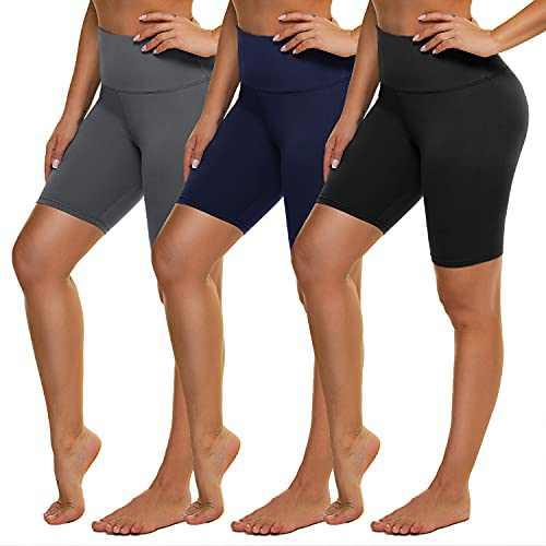 """NexiEpoch 3 Pack Biker Shorts for Women - 8"""" High Waisted Buttery Soft Yoga Workout Running Shorts"""
