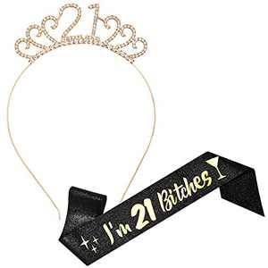 21st Birthday Sash, Gold Birthday Crowns for Women & Birthday Sash Set, Princess Rhinestone Birthday Tiara and Sash, 21st Birthday Gifts for Her, Sweet 21st Birthday Decorations Supplies