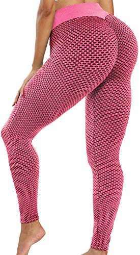 BURUNST High Waist Yoga Pants for Women Tummy Control Slimming Leggings Workout Running Butt Lifting Tight(C-Honeycomb Pink,M)