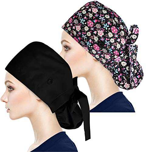 Adjustable Working Caps with Button & Sweatband, Women Ponytail Pouch Hats, Long Hair (Red Flower+Black)