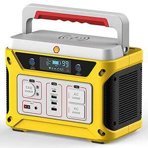 Shell Portable Power Station 110V/500W/583Wh (Peak 1500W), Li-ion Backup Battery Solar Generator, Total 10 Outputs, USB PD 65W, 2 x AC Outlets , SOS LED, Mobile Inverter for Outdoor RV Camping Home Emergencies
