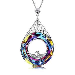 Sllaiss Mothers Day Gifts Phoenix Necklace for Mom Austrian Crystals Pendant, Elegant Charm Gift for Mom Wife Lover Grandma 18''+2''with Jewelry Box, Nirvana of Phoenix Jewelry