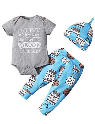 Dramiposs Baby Boy Coming Home Bodysuit Newborn Baby Pant Clothing Set with Hat (Gray-Daddy,0-3 Months)