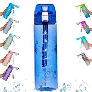 Goothdurs 24/32 oz Water Bottle with Time Marker & Straw – Water Bottles with Times to Drink, Bpa Free Leak Proof for Fitness, Gym and Outdoor Sports