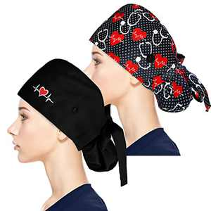 Fesciory Adjustable Working Caps with Button & Sweatband, Women Ponytail Pouch Hats, Long Hair (Heart ECG+Stethoscope)