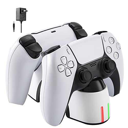 LIFTREN PS5 Controller Charger Station,Fast Charging AC Adapter, Charging Station Dock for Dual Playstation 5 Controllers with LED Indicator,Charging Protection