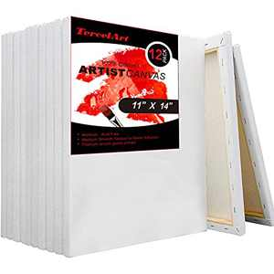 TercelArt Stretched Canvas, Pack of 12, 11x14 Inch Canvases for Painting, Triple Primed, 100% Cotton, Art Supplies for Acrylic Pouring and Oil Painting
