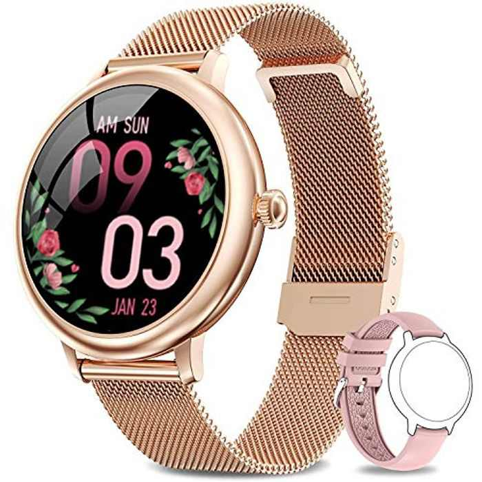 LIEBIG Smart Watch for Women, Full Touch Fitness Watch Tracker with Female Function Heart Rate Monitor Blood Pressure Ladies Smart watches IP67 Waterproof Sports Smartwatch Pedometer for Android iOS