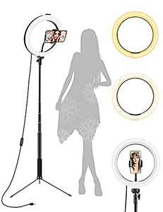"""Ring Light, 10.2"""" Selfie Ring Light with Tripod Stand & Phone Holder, Selfie Circle LED Lights Ringlight for Video Recording, TikTok, Conference, Makeup, IPhone, Laptop, Computer, 3 Light Modes,ZAZZIO"""