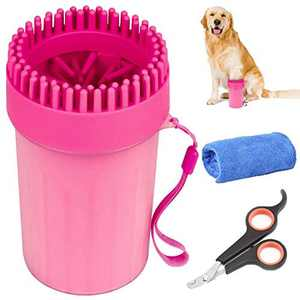 Dog Paw Cleaner maguja Paw Cleaner Dog Foot Washer Massager Portable Pet Paw Cleaner Comfortable Silicone Pet Cleaning Brush Cup for Outdoor Indoor Grooming Includes Towel and Pet Nail Clippers
