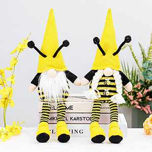 Bee Gnome Scandinavian Home Bee Decor Set of 2 for Farmhouse Kitchen Shelf Tiered Tray Bee Decorations Swedish Figurines Bee Elf Ornaments