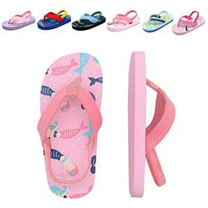 Toddler Flip Flops Girls Mermaid Beach/Pool With Backstrap Slip On Sandals Little Kids Water Shoes