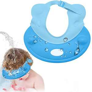 Baby Shower Cap, Locsee Adjustable Waterproof Silicone Shampoo Shower Cap for Kids Bath Visor with Ear Protection for Bathing Washing Hair, Soft Hat for Toddler, Kids, Girls, Boys, Children - Blue