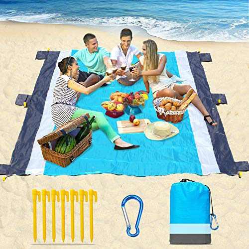 "Beach Blanket-79 X 83"" Sandproof Waterproof Lightweight Portable Beach Mat with 7 Plastic Floor, 210D Nylon Picnic Pocket Blanket for Park Beach Hiking Camping (Gray-Blue)"