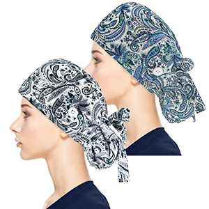Adjustable Working Caps with Button & Sweatband, Women Ponytail Pouch Hats, Long Hair (Blue Leaf+Gery Leaf)