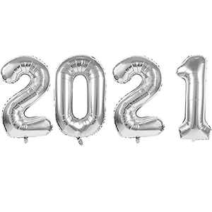 """2021Balloons for Graduation and New Year - 40"""" Foil 2021 Mylar Balloons for New Year Eve Festival Party Supplies, Great Number Decorations for Class and Wedding, Birthday, Anniversary Events (Silver)"""