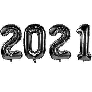 """2021Balloons for Graduation and New Year - 40"""" Foil 2021 Mylar Balloons for New Year Eve Festival Party Supplies, Great Number Decorations for Class and Wedding, Birthday, Anniversary Events (Black)"""