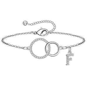 Yoosteel Mom Gifts, Initial F Letter Bracelet Two Interlocking Infinity Teen Mom Bracelets Gifts for Mom Women for Mom Birthday Gift for Mom