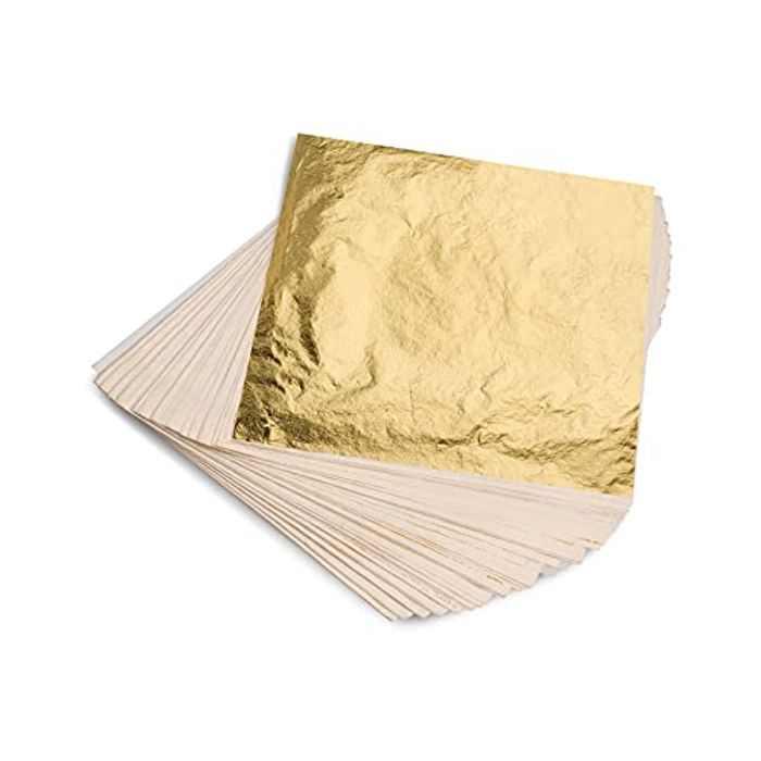 KraftiSky Gold Leaf Sheets 14 x 14cm Pack of 100 Imitation Gold Foil Multipurpose & Decorative for Gilding, Resin Crafts, DIY Projects, Nail Art