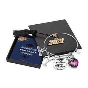 Yoosteel 2021 Graduation Gifts Charm Bracelets, Graduation Bracelets Quote Inspirational Bracelet College Graduation Gifts for Him Her 2021 High School