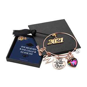 Yoosteel 2021 Graduation Gifts Charm Bracelets, Graduation Bracelets Rose Gold Inspirational Bracelet College Graduation Gifts for Him Her 2021 High School