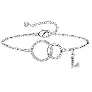 Yoosteel Mom Gifts, Dainty L Initial Bracelet Two Interlocking Infinity Circles Mother Daughter Bracelet Birthday Gifts for Mom Women Mother Day Jewelry