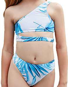 Macool Little Girls Blue Swimsuits Toddler Kids One Shoulder Bikini 2 Piece Sunflower Bath Suits Beach Swimwear Size 6