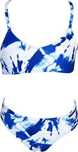 Macool Girls Blue Swimsuits Toddler Kids Tie Dye Bikini Beach Swimwear 2 Piece Baby Bathsuits Size 5