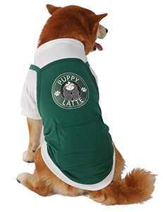 Coomour Dog Shirt Pet Puppy Latte 100% Cotton Clothes T-Shirt Cat Puppy Coffee Shop Waiter Costume Outfits (L)