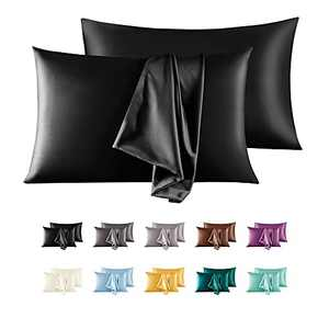 """LorXun Satin Pillowcase for Hair and Skin Set of 2, Queen Size Pillow Cases 2 Pack, Silky Pillow Cases Soft Breathable Smooth Silk Pillow Cover with Envelope Closure (Black, Queen(20""""x30""""))"""
