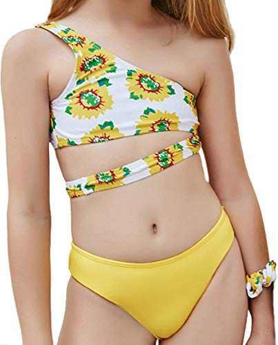 Macool Little Girls Yellow Swimsuits Toddler Kids One Shoulder Bikini 2 Piece Sunflower Bath Suits Beach Swimwear Size 6