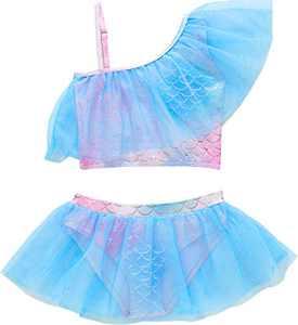 Macool Little Girls Blue Swimsuits Toddler Kids Mermaid Bikini 2 Piece Ruffle Lace Baby Bath Suits Beach Swimwear Size 3