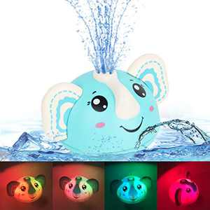 Leipal Pool Water Toys for Kids Elephant Baby Light Up Bath Toys Sprinkler Bathtub Toys for Toddlers (Blue)