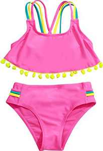 Macool Girls Pink Swimsuits Toddler Kids Bikini Beach Swimwear 2 Piece Baby Bathsuits Size 6