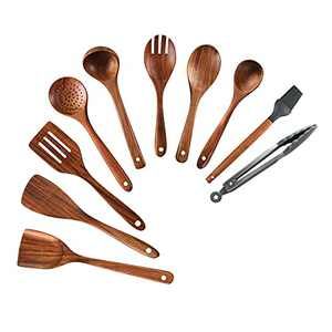 Wooden Cooking Utensil Set 10PCS Kitchen Cooking Tools Spoon & Spatula Mix Nonstick Kitchen Gadgets Perfect for Nonstick Pots and Pans Cookware Turner