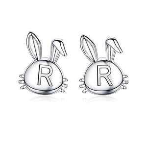 Easter Bunny Earrings for Girls, 14K White Gold Plated Dainty R Initial Hypoallergenic Earrings Cute Animal Easter Gifts for Girls Daughter Girls