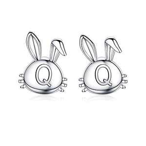 Easter Bunny Earrings for Girls, 14K White Gold Plated Dainty Q Initial Earrings Hypoallergenic Cute Easter Gifts for Kids Daughter Girls